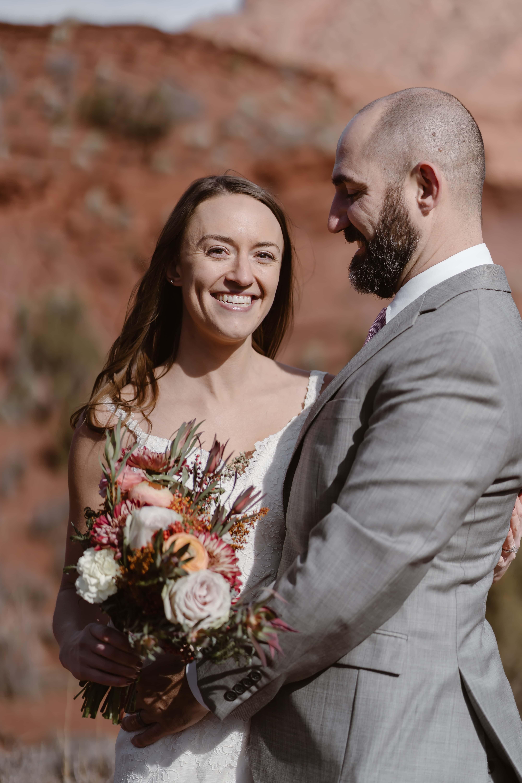 Bride Smiling at Moab Elopement