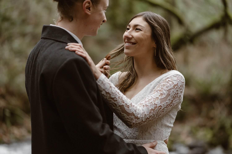 Bride and Groom Oregon Adventurous Waterfall elopement