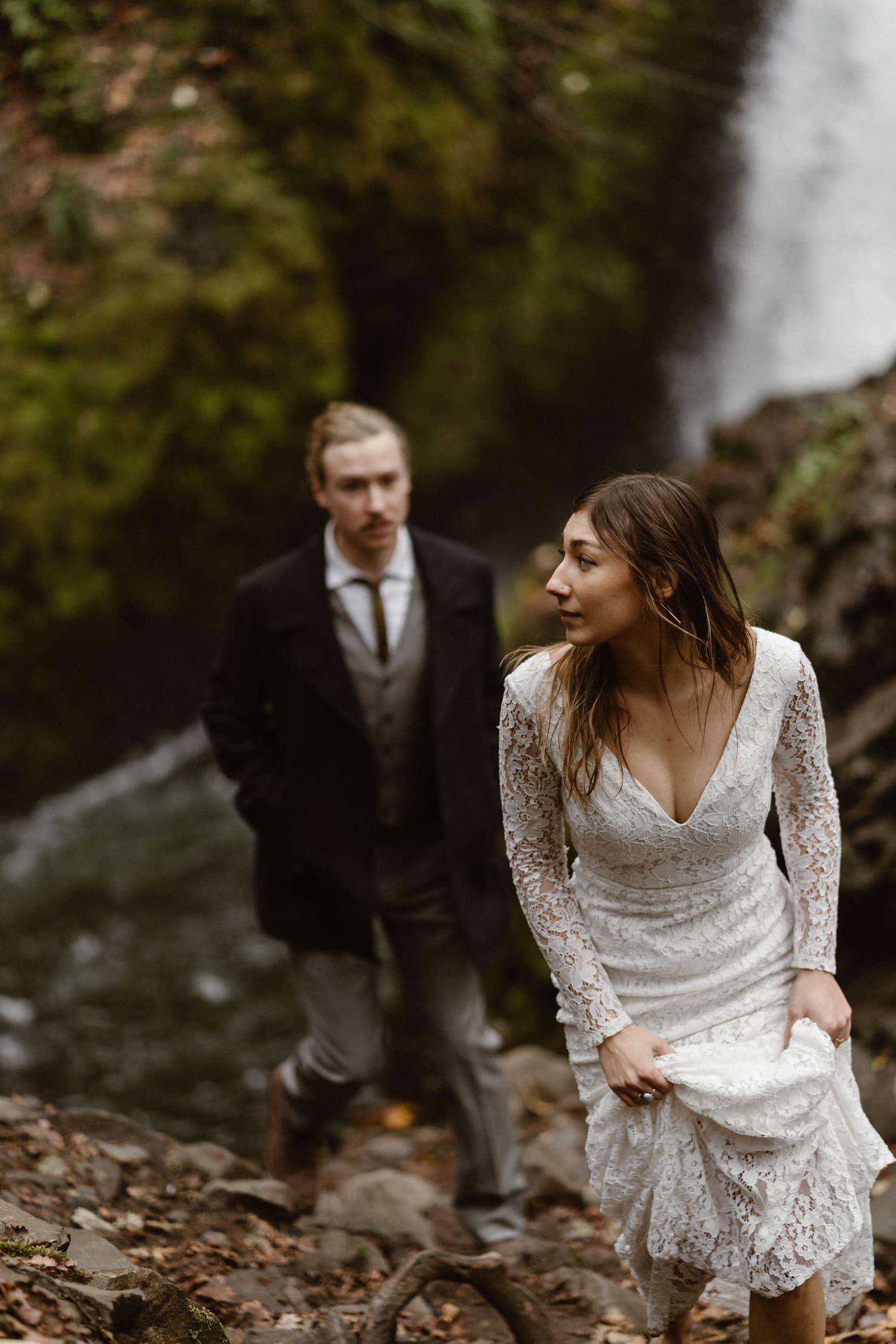 Bride Hiking at Oregon Adventurous Waterfall elopement