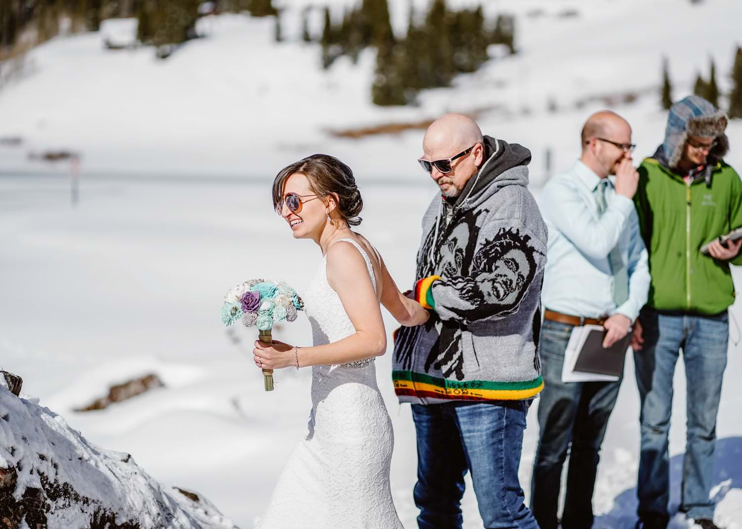 Bride and Dad Walking Down Isle at Telluride Elopement