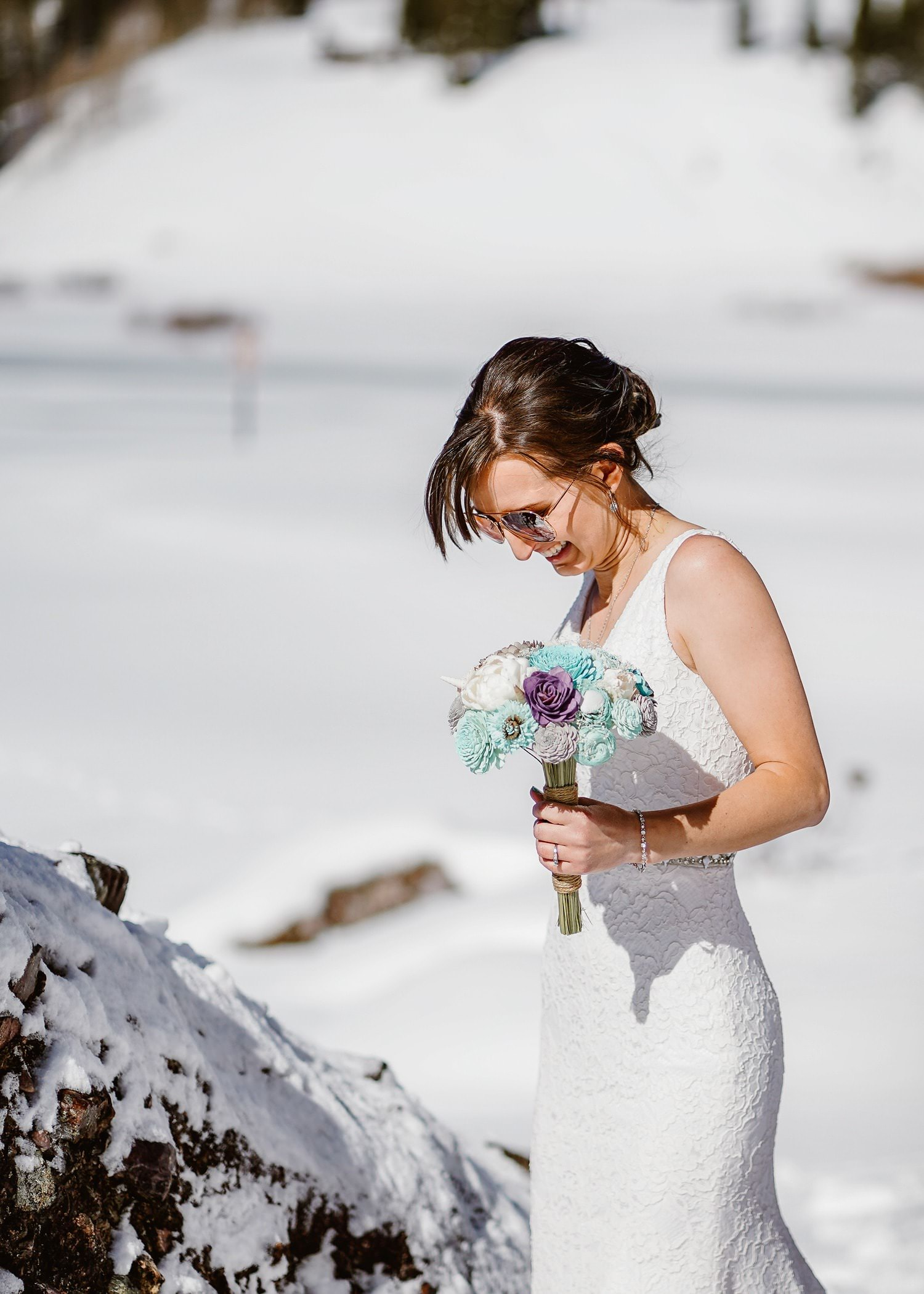 Bride with Flowers Telluride Elopement
