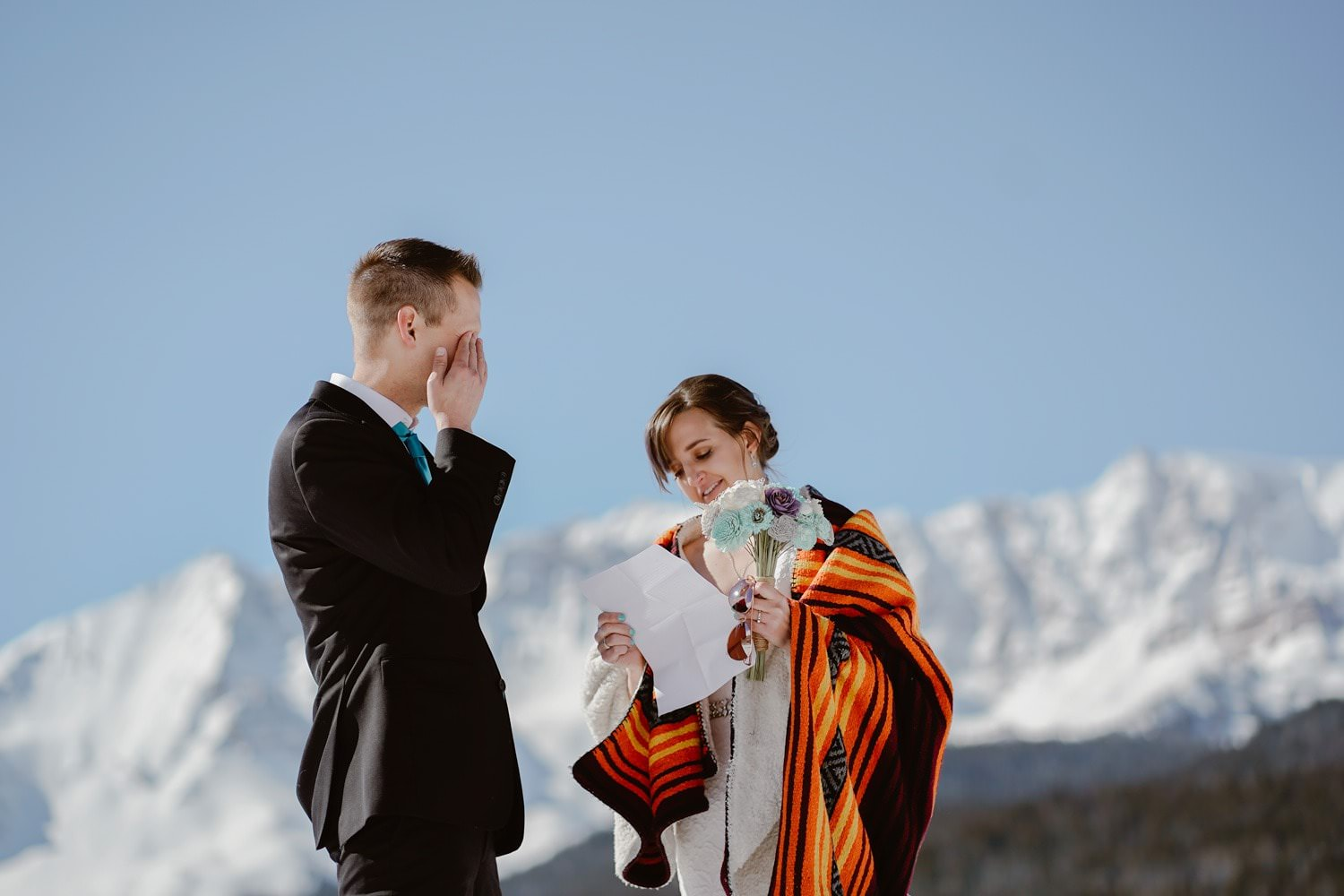 Bride and Groom Vow Exchange in Telluride Elopement