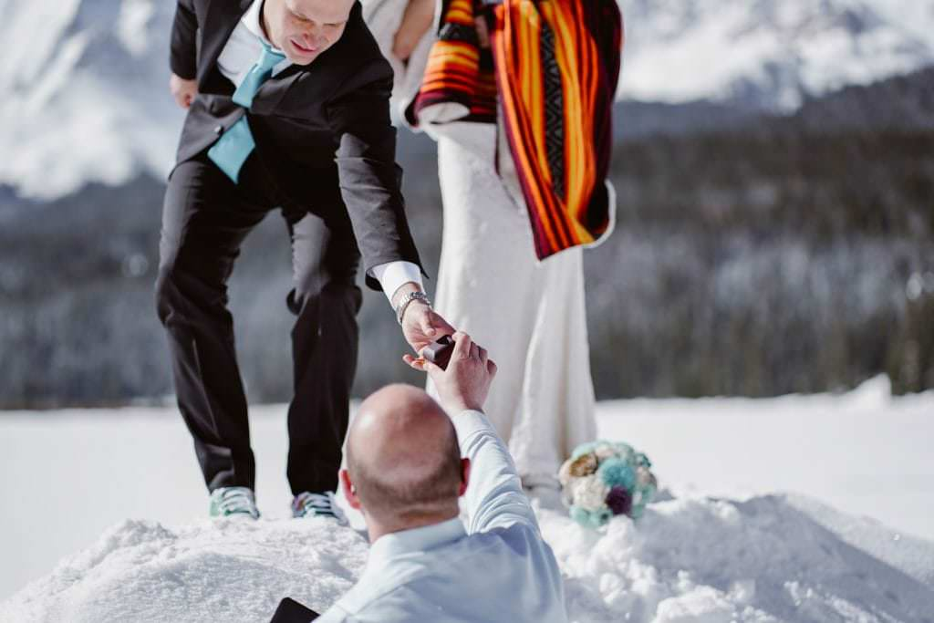 Groom Getting Ring at Telluride Elopement