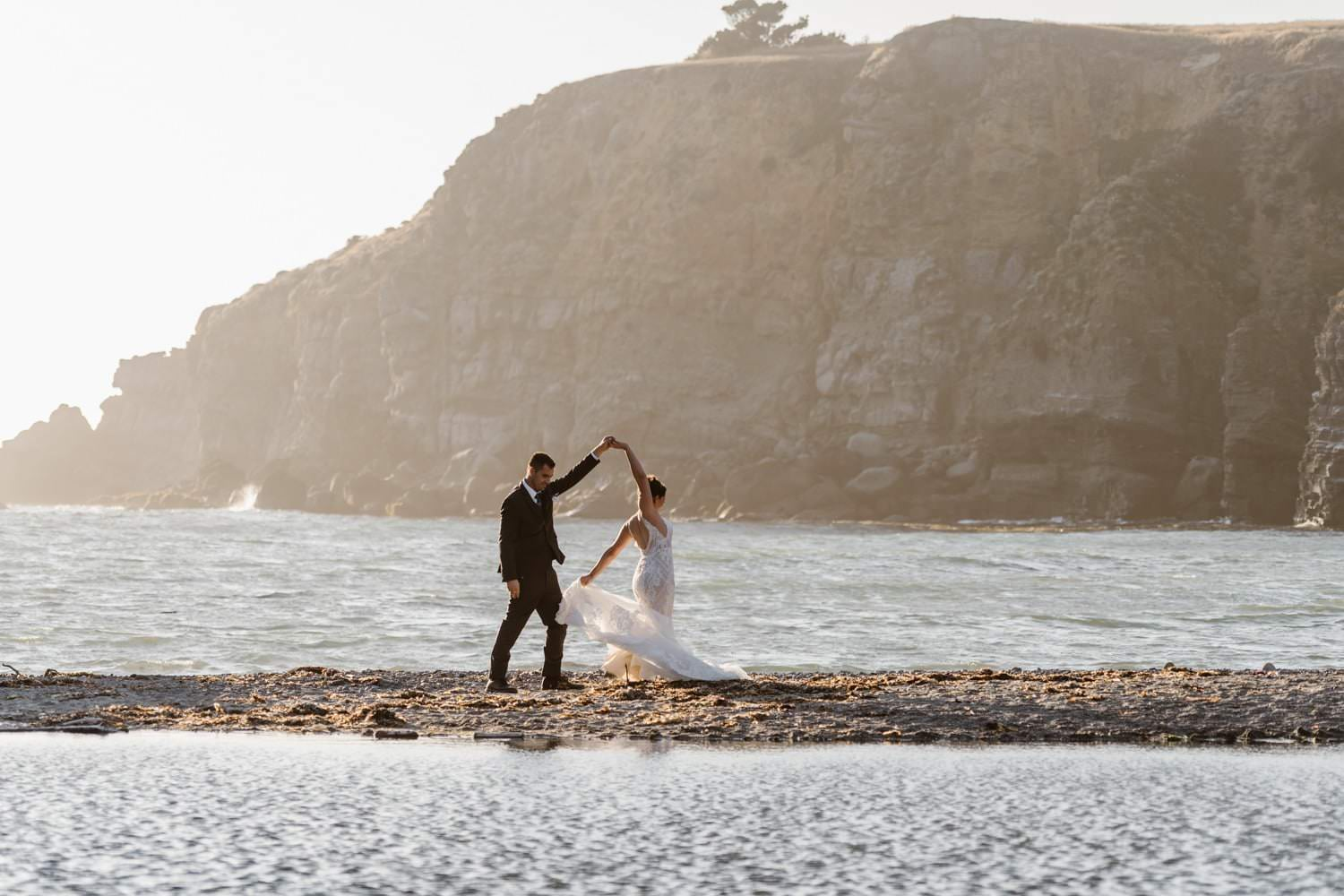 Big Sur Ocean Elopement Wedding Dress