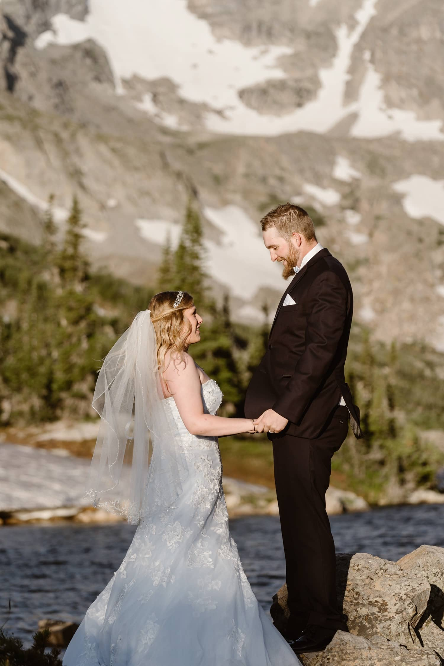 Bride and Groom First Look at Colorado Adventure Elopement