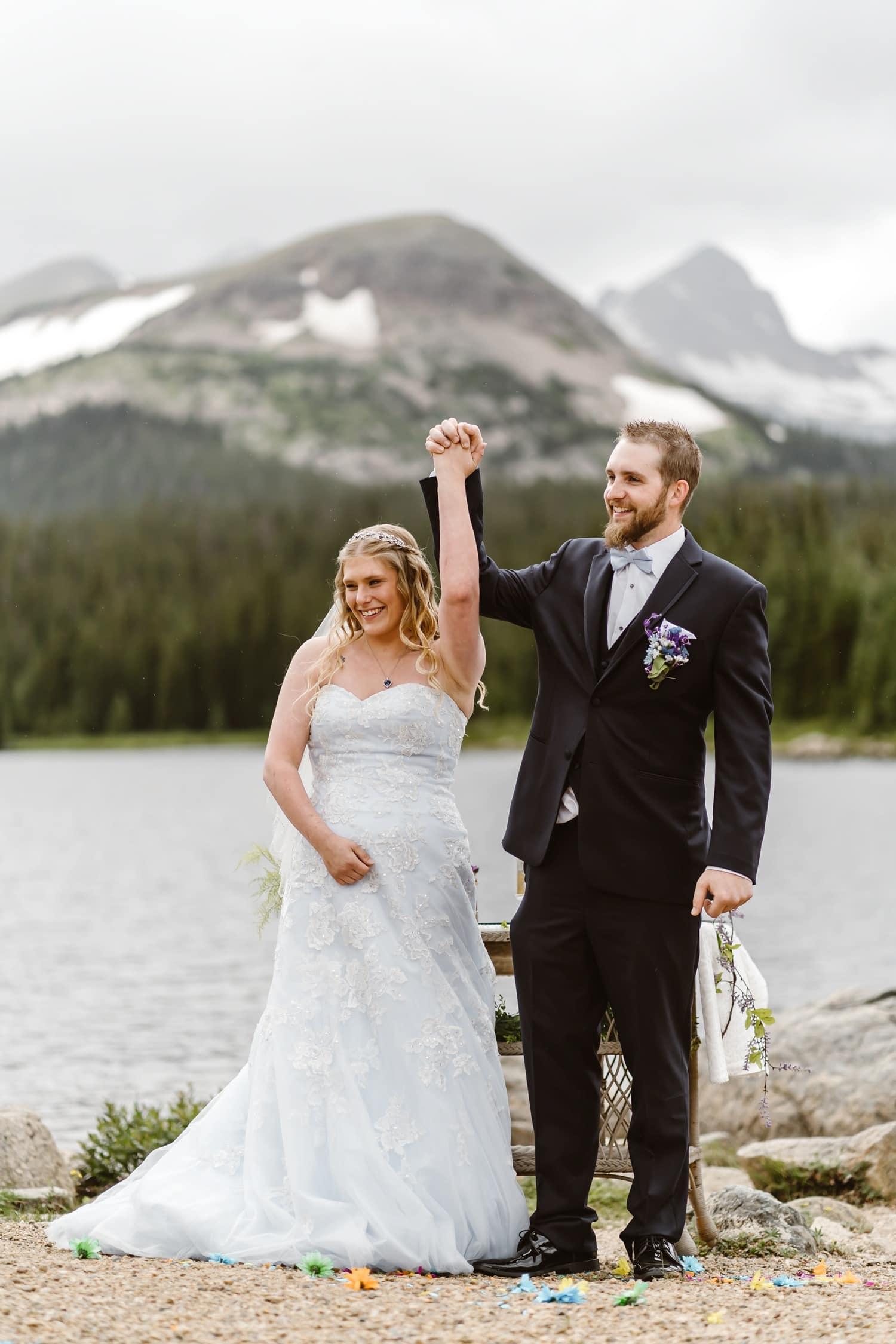Bride and Groom at Vow Ceremony at Colorado Adventure Elopement