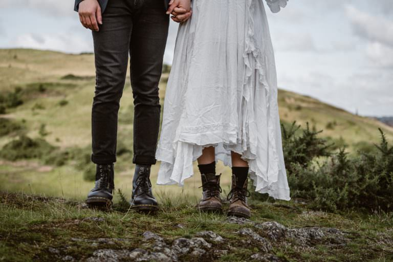 Bride and Groom Boots Elopement