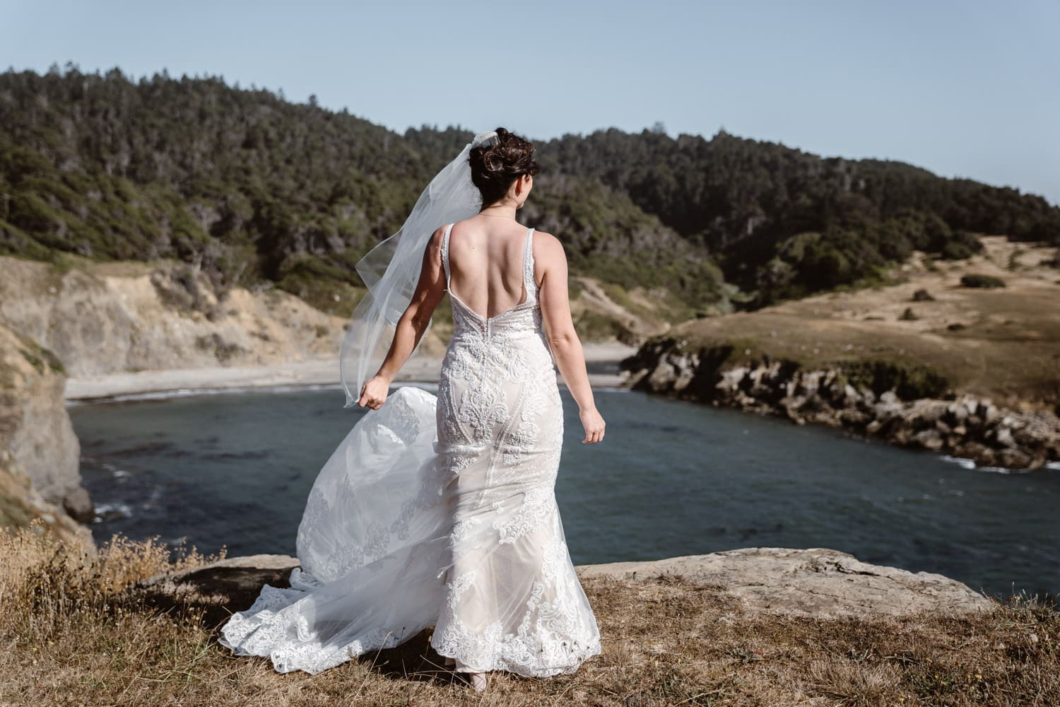 Bride getting ready for first look at Big Sur Elopement