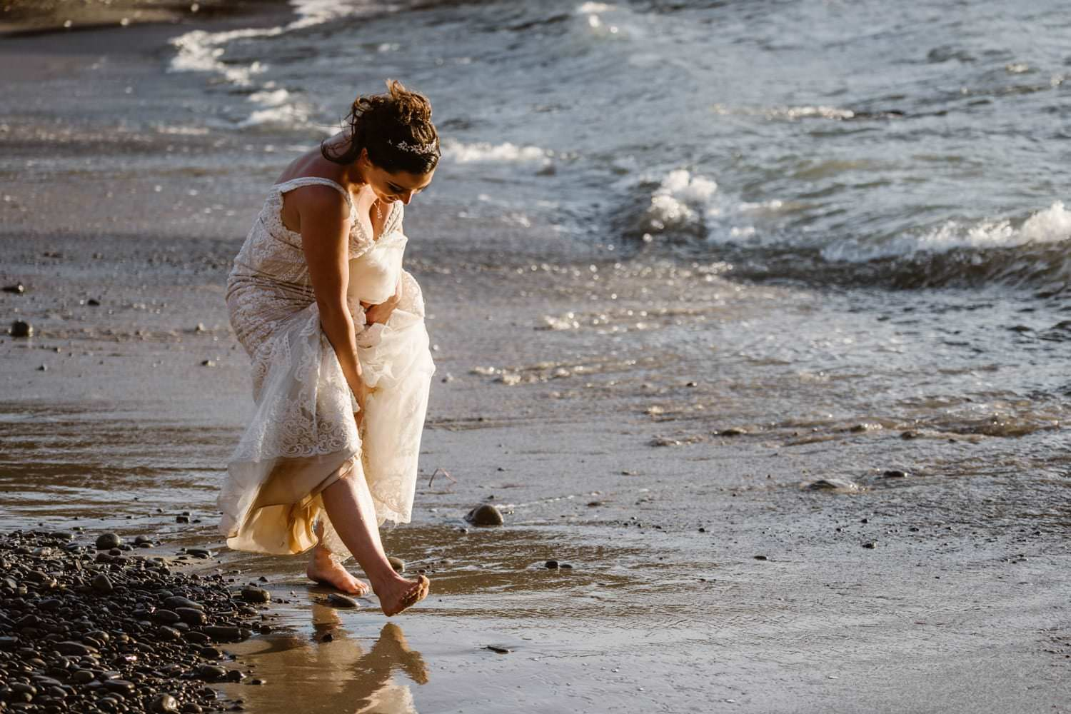Bride on the Beach at Big Sur Elopement