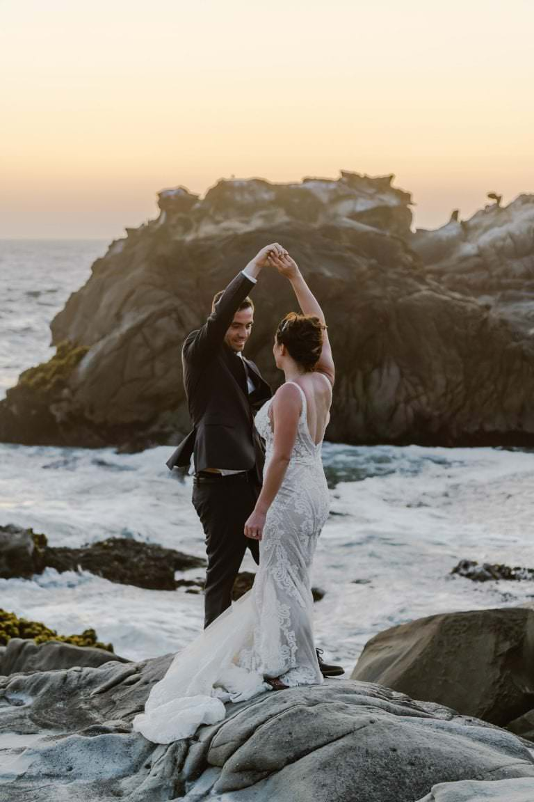 Dancing Big Sur Sunset Elopement