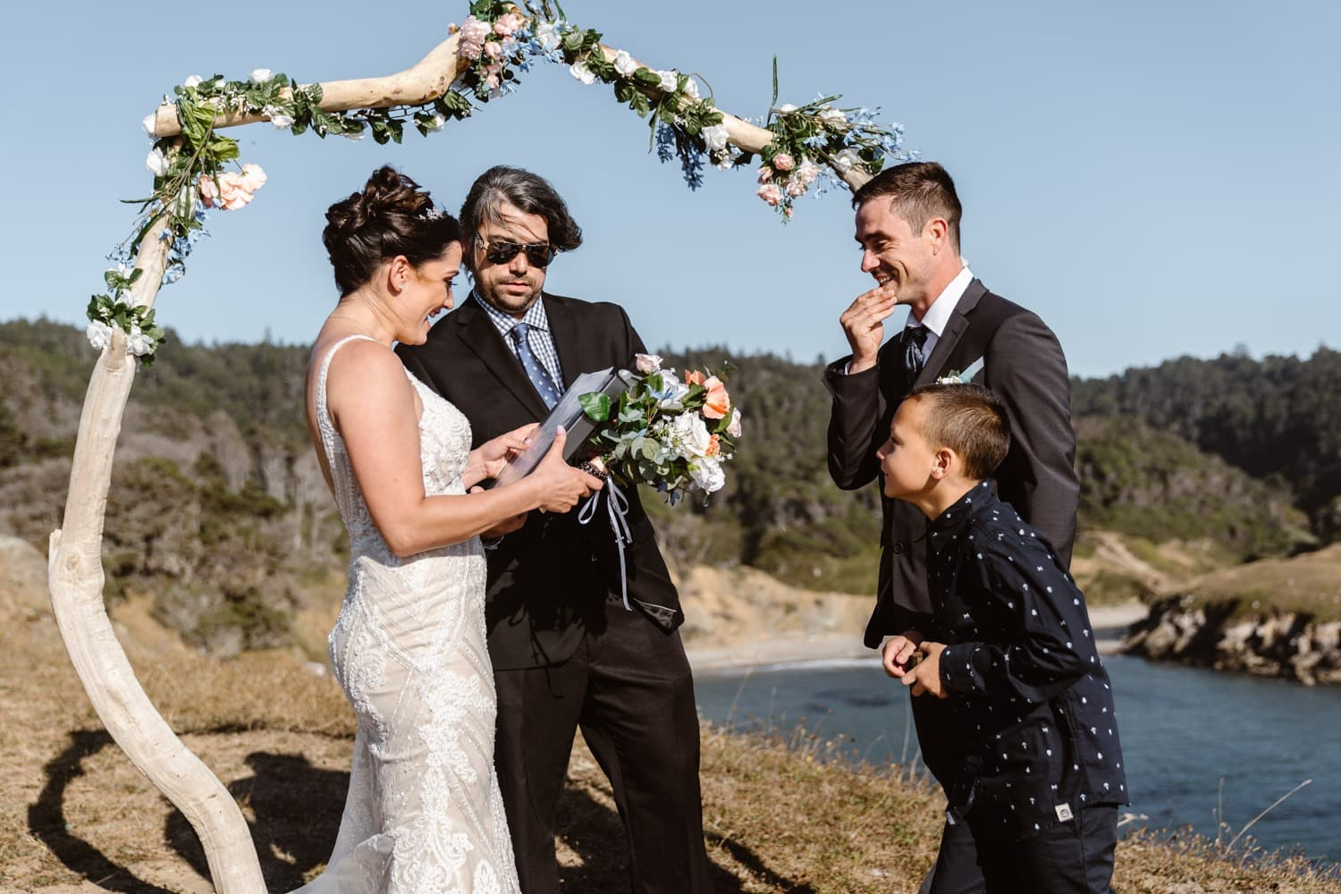 Bride and Groom Vow Ceremony at Big Sur Elopement