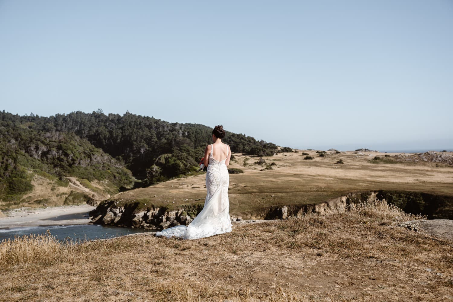 Bride at first look in Big Sur Elopement