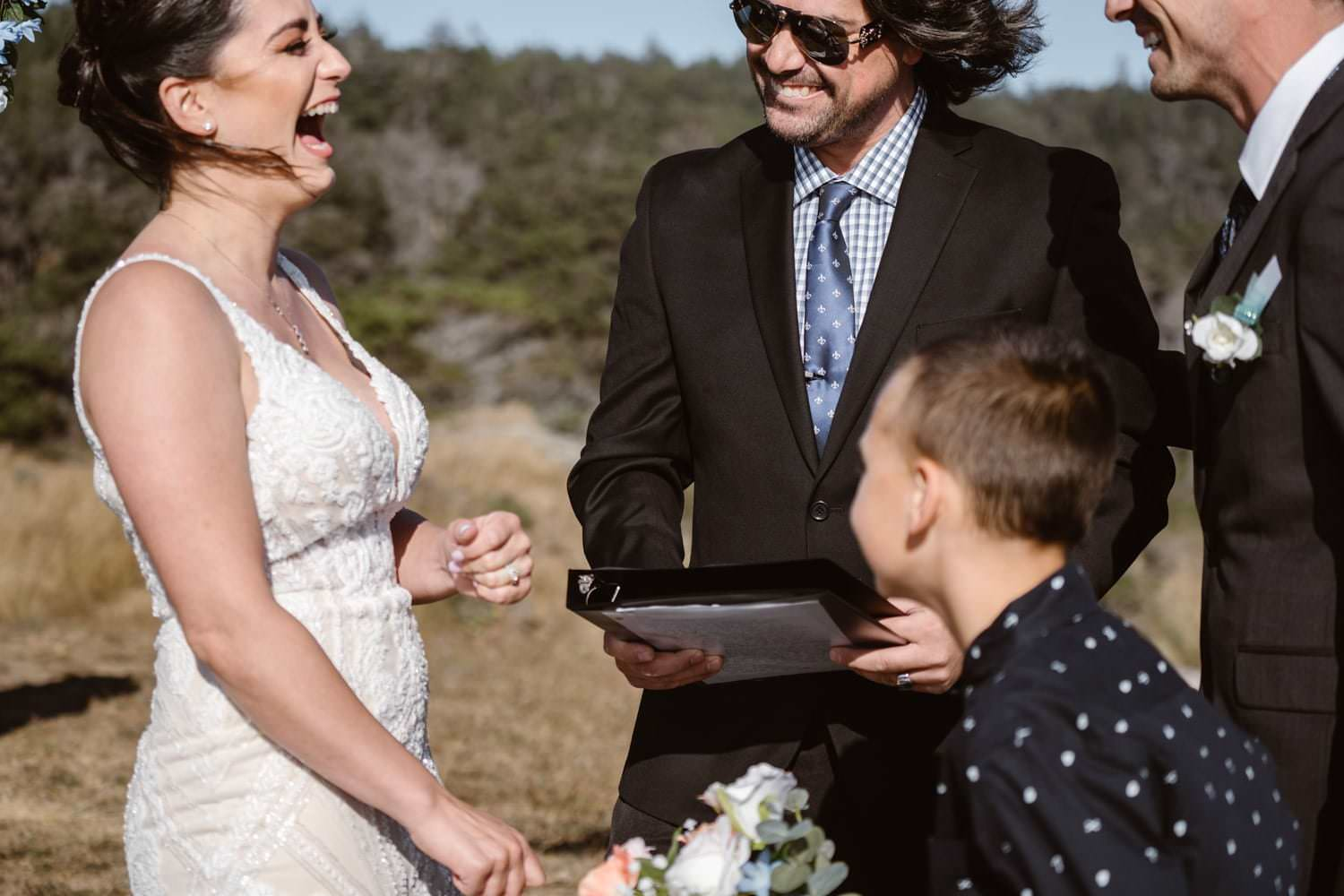 Bride and Groom Ring Exchange at Big Sur Elopement