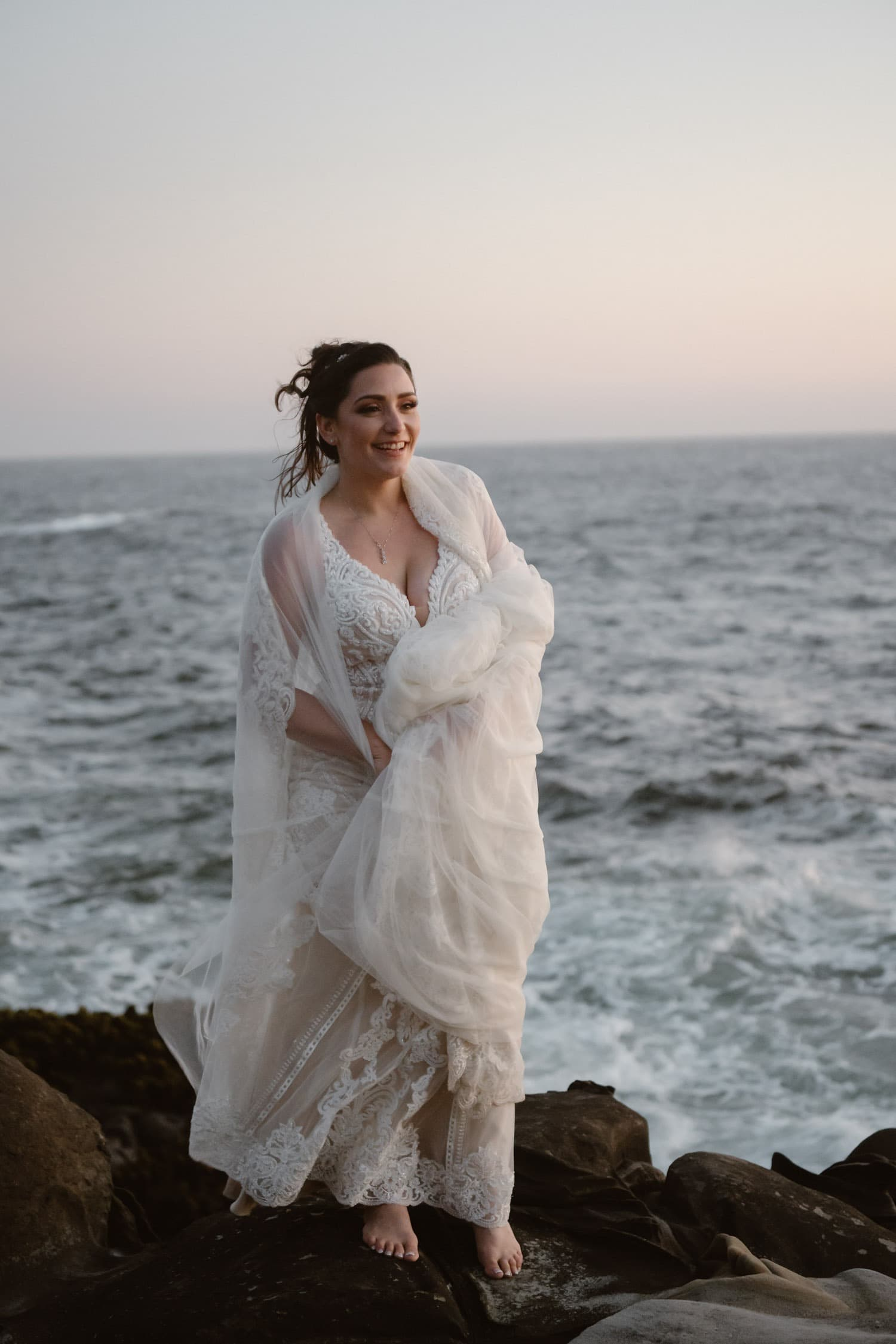 Bride with her dress at Big Sur Elopement