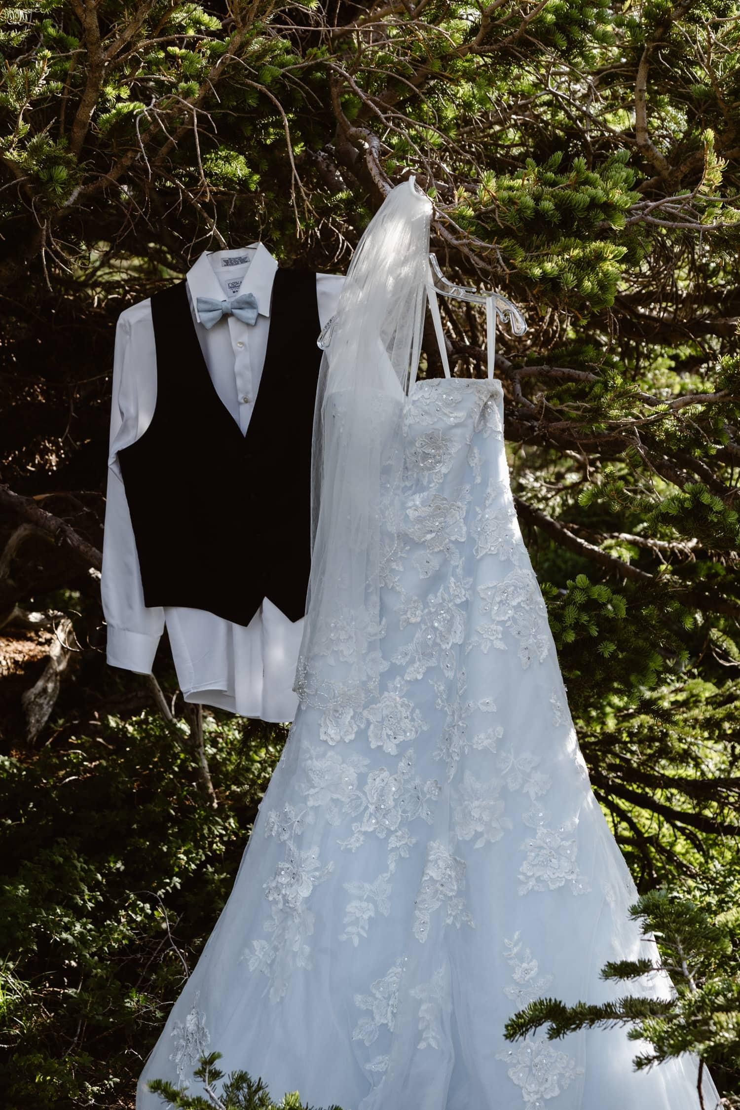 Bride and Groom Clothes Colorado Adventure Elopement