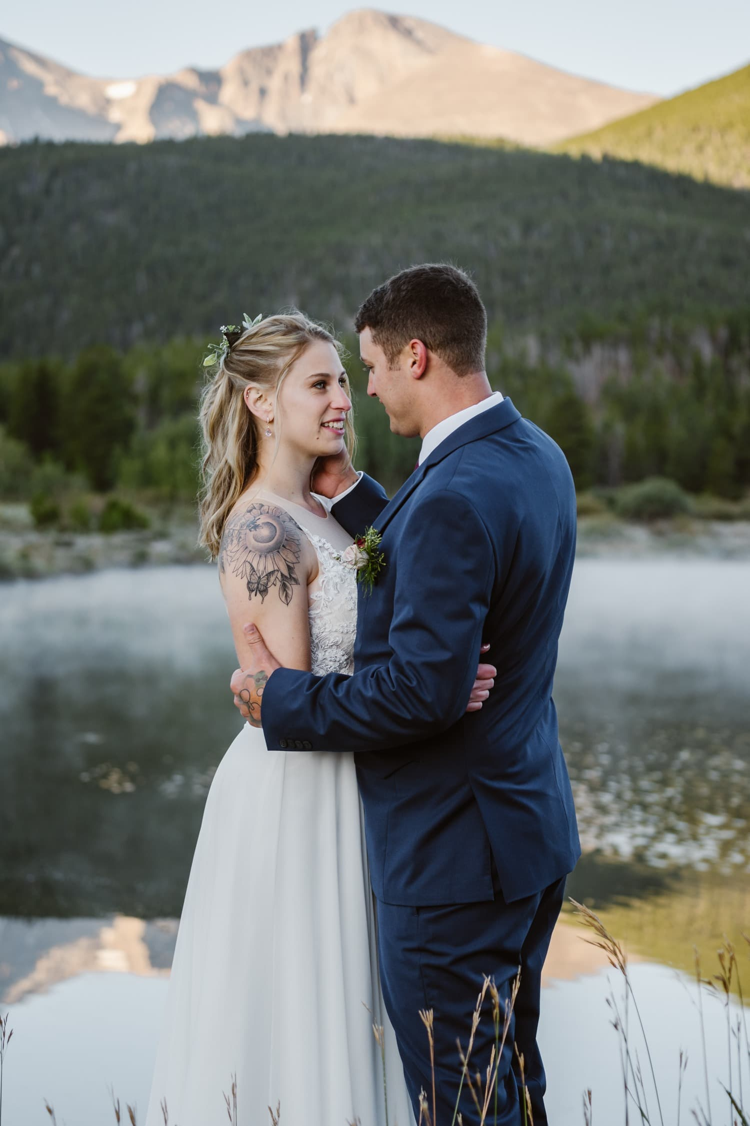 Bride and Groom at Lily Lake Rocky Mountain National Park Elopement