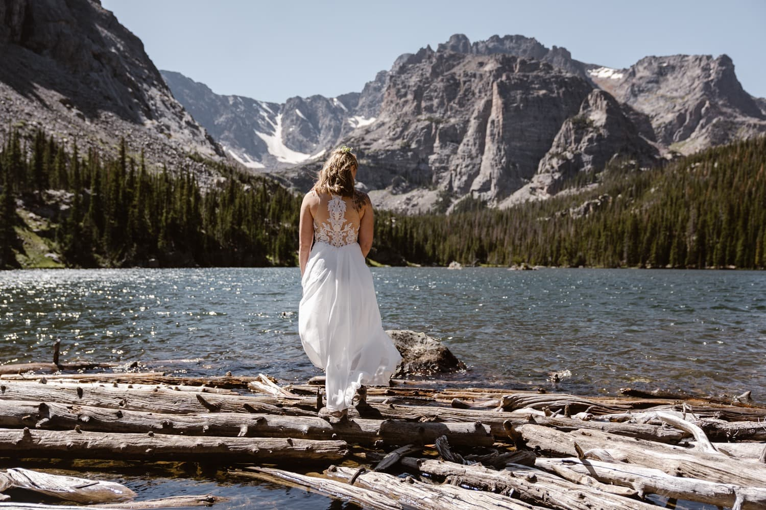 Bride at Loch Lake at Rocky Mountain National Park Hiking Elopement