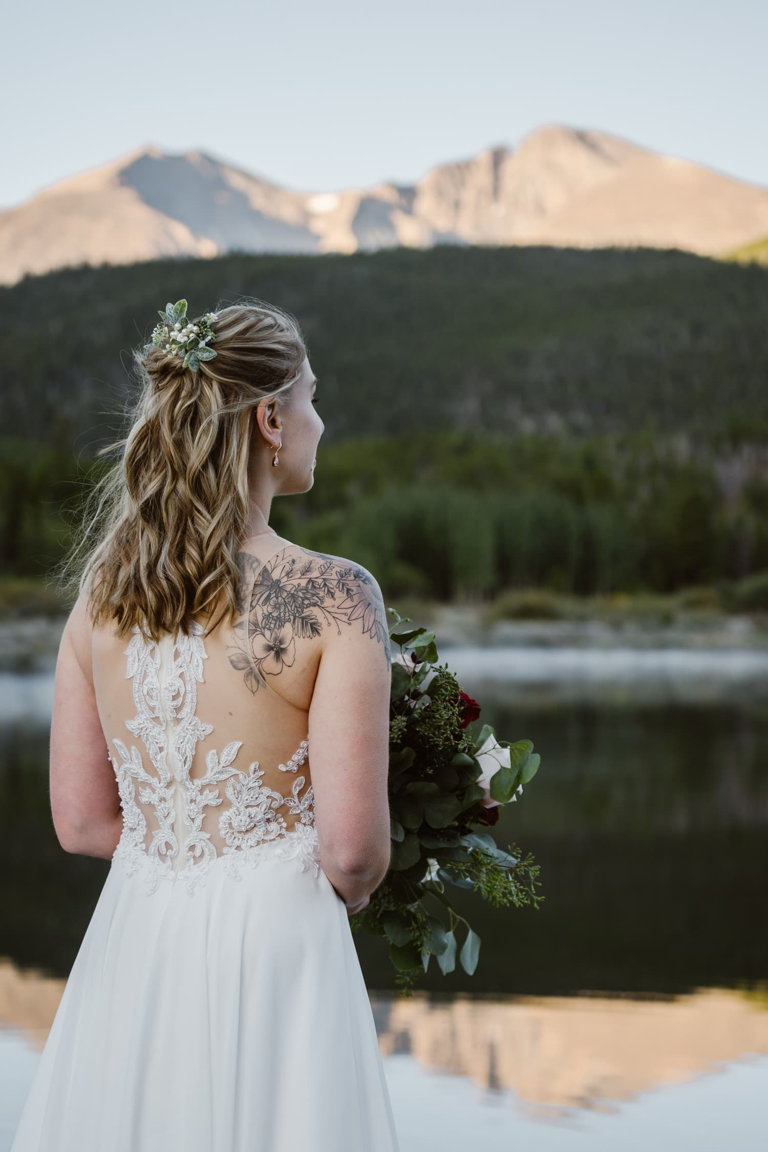 Bride at Lily Lake Rocky Mountain National Park Elopement