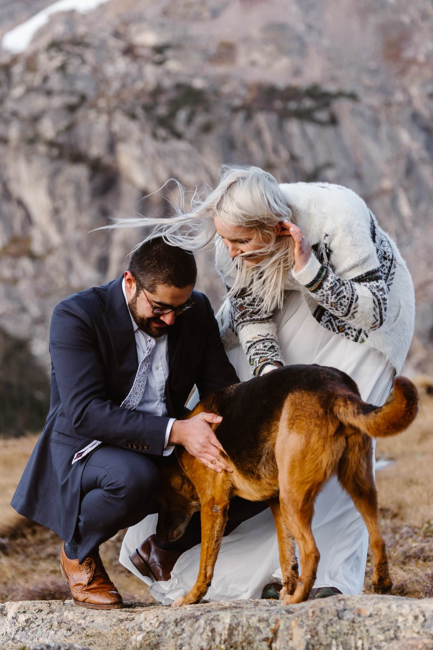 Bride and Groom with Dog at Self Solemnizing Elopement near Boulder, Colorado