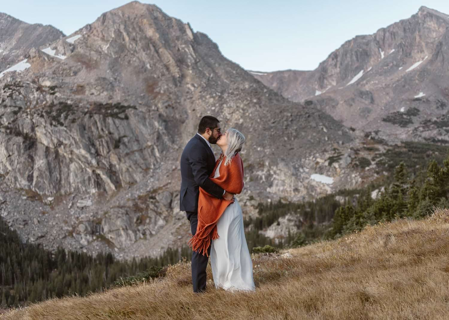 Couple Kissing at Self Solemnizing Elopement near Boulder, Colorado