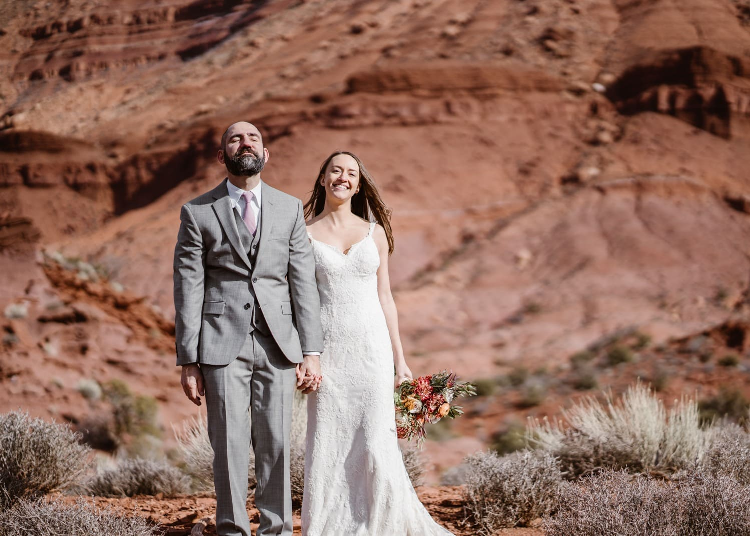 Bride and Groom Moab Elopement