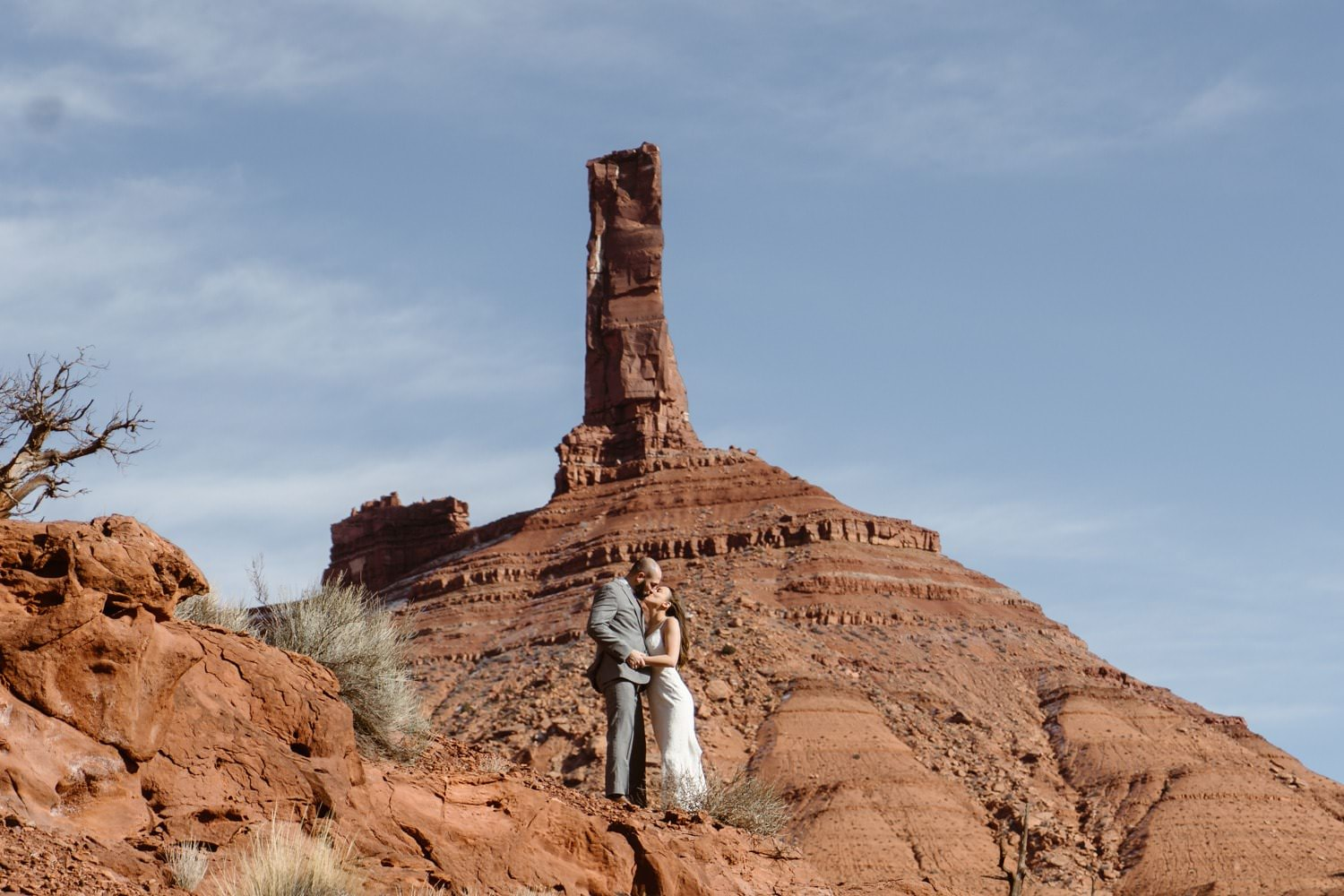 Bride and Groom Kissing at Moab Elopement