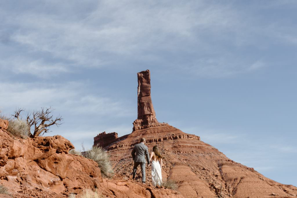 Bride and Groom at Moab Elopement