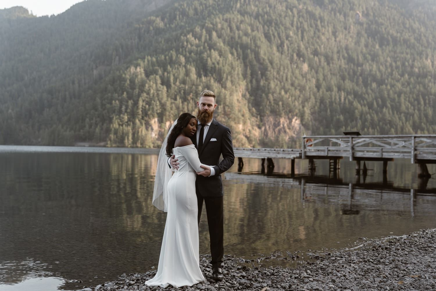 Bride and Groom at Lake Crescent Olympic National Park Elopement