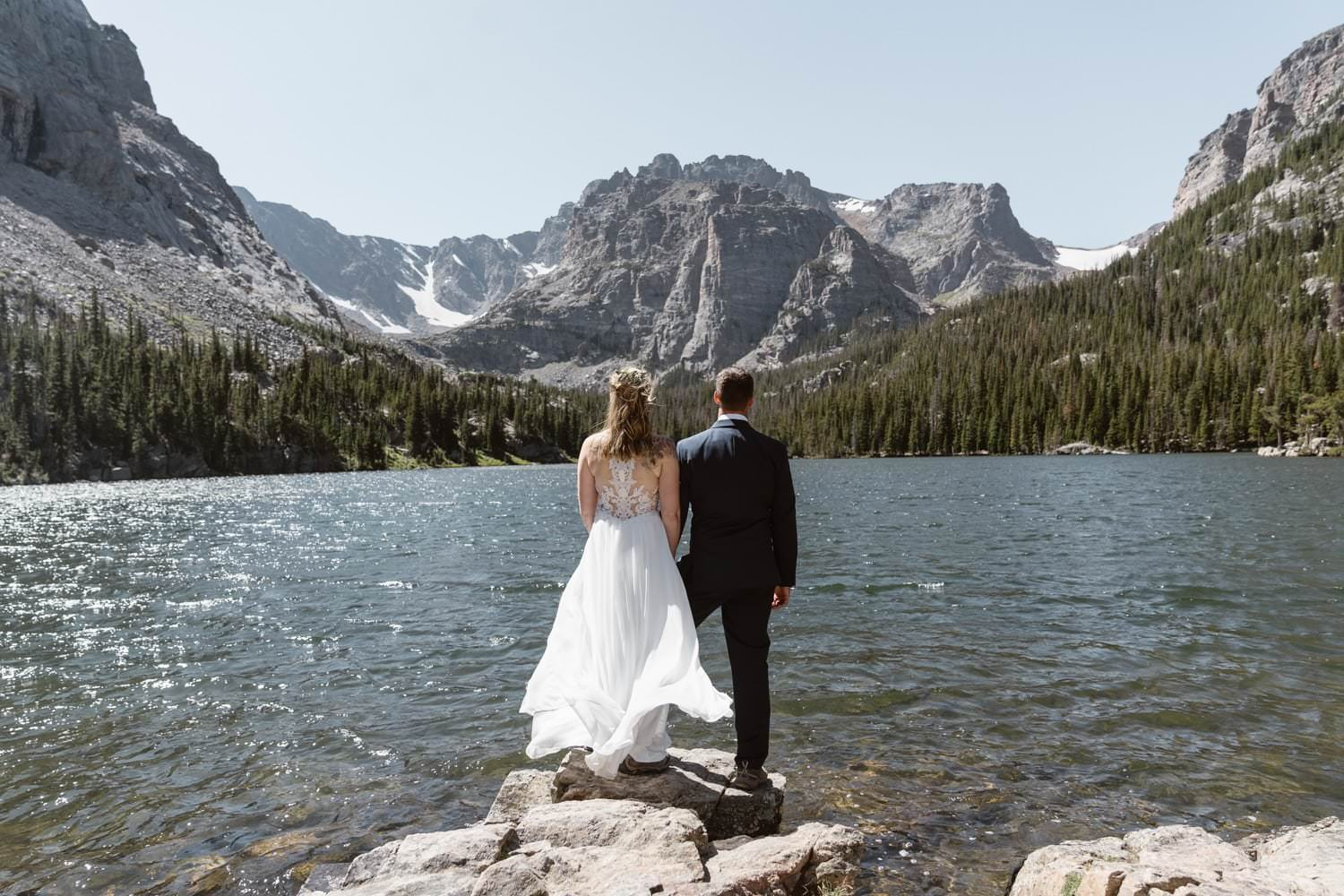 Bride and groom Loch Lake at Rocky Mountain National Park Hiking Elopement