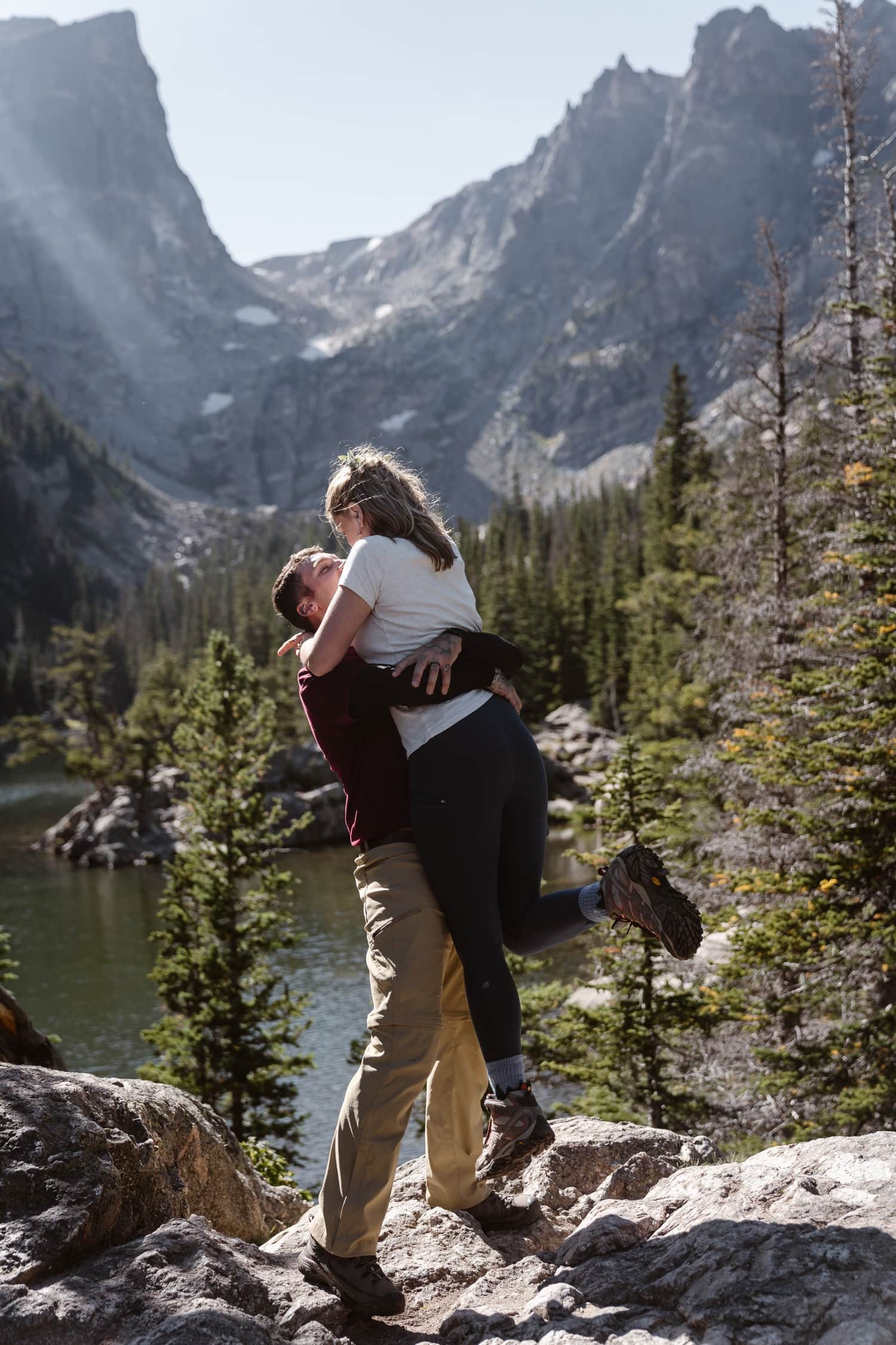 Bride and Groom hiking at Rocky Mountain National Park Hiking Elopement