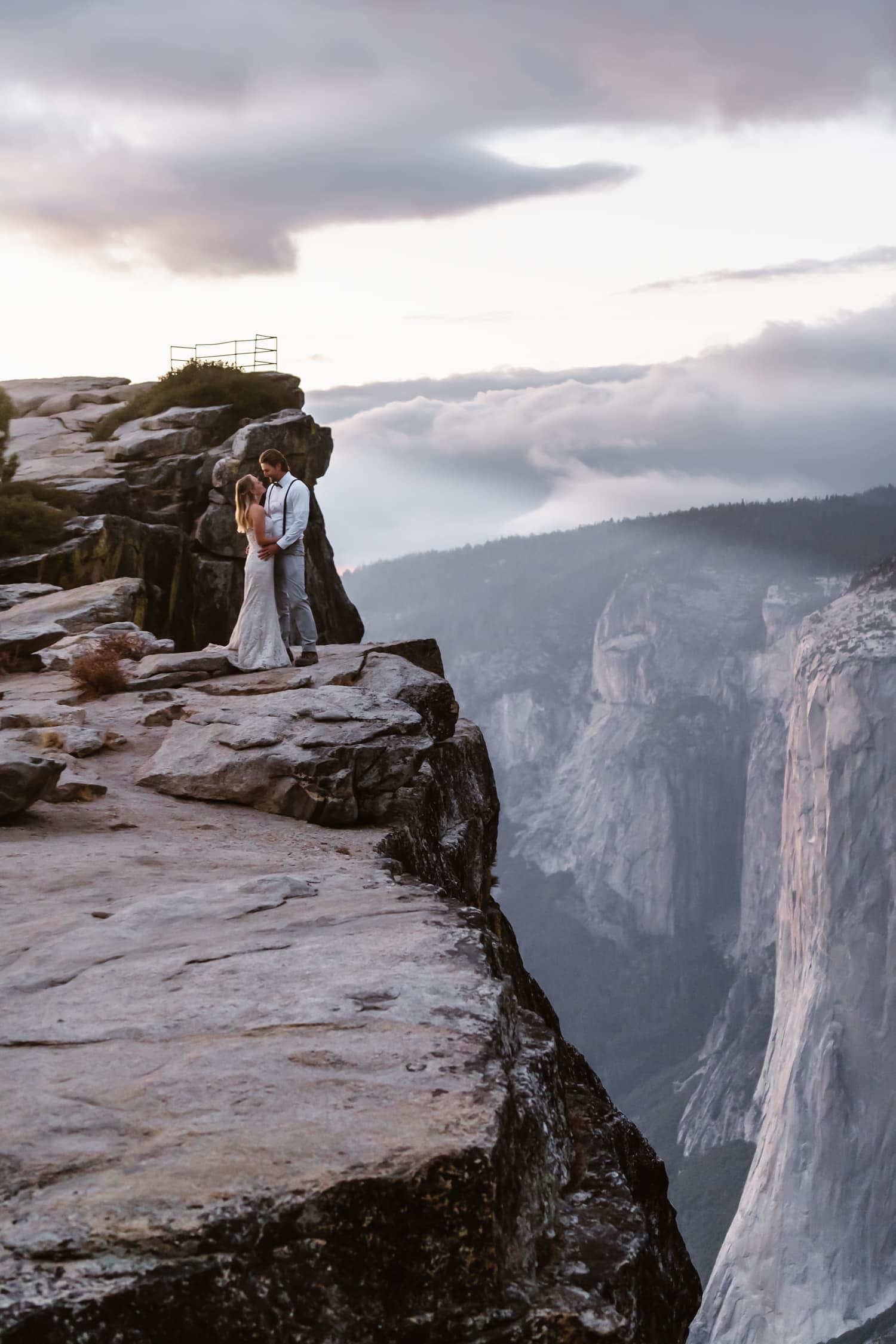 Bride and Groom Hugging at Taft Point Yosemite Elopement