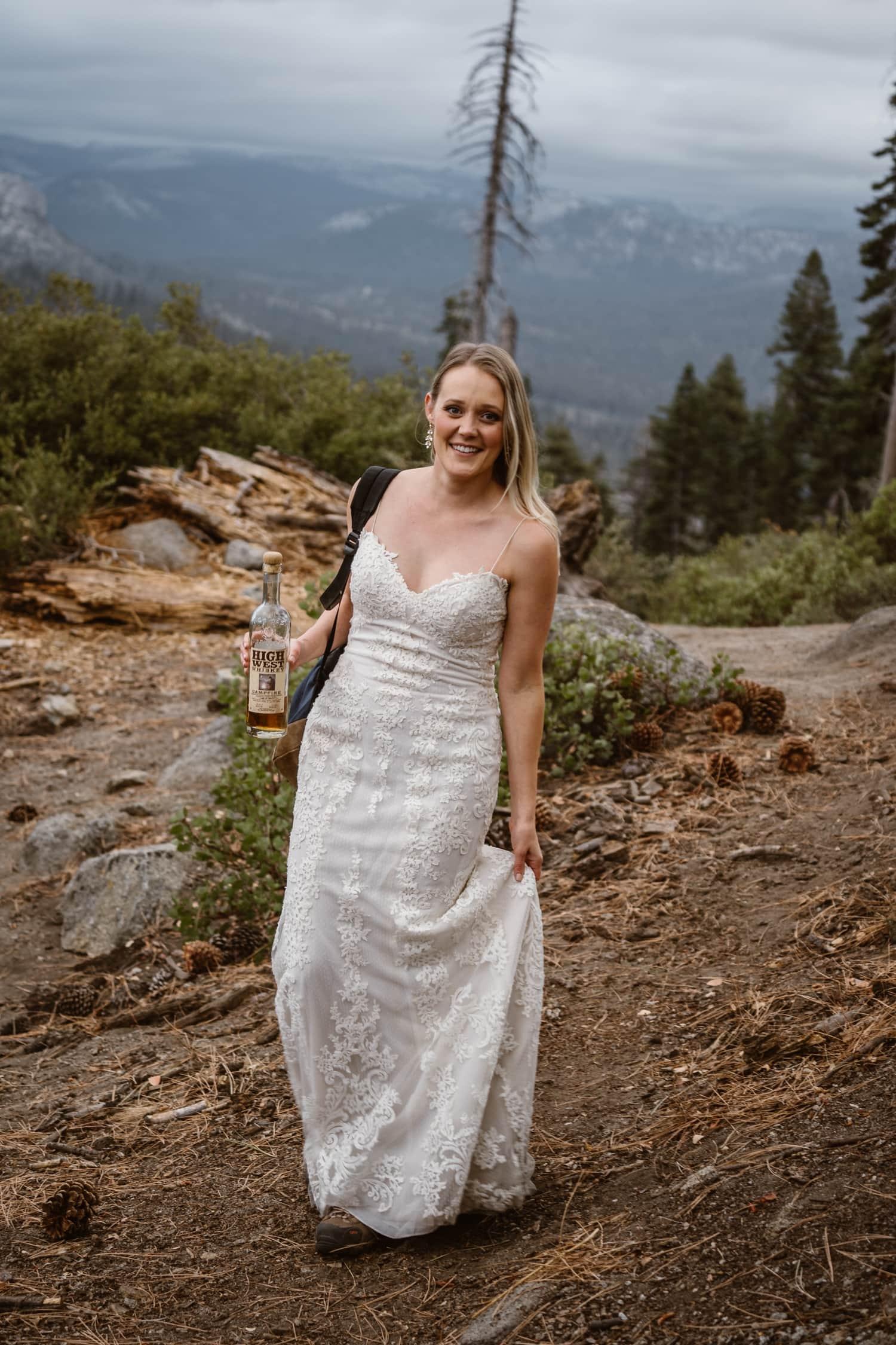 Bride Hiking at Glacier Point Yosemite Elopement
