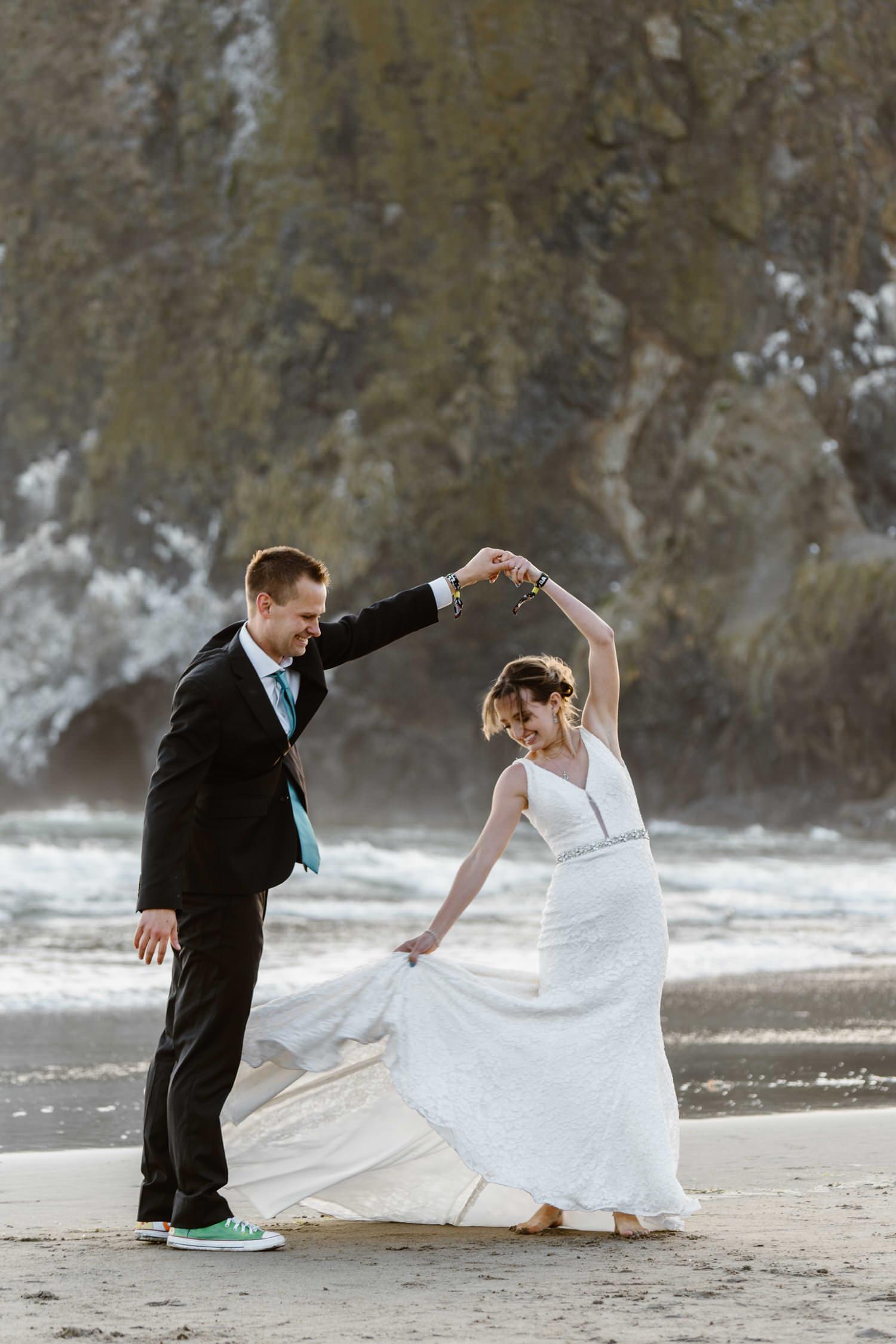Cannon Beach Oregon Elopement Dancing
