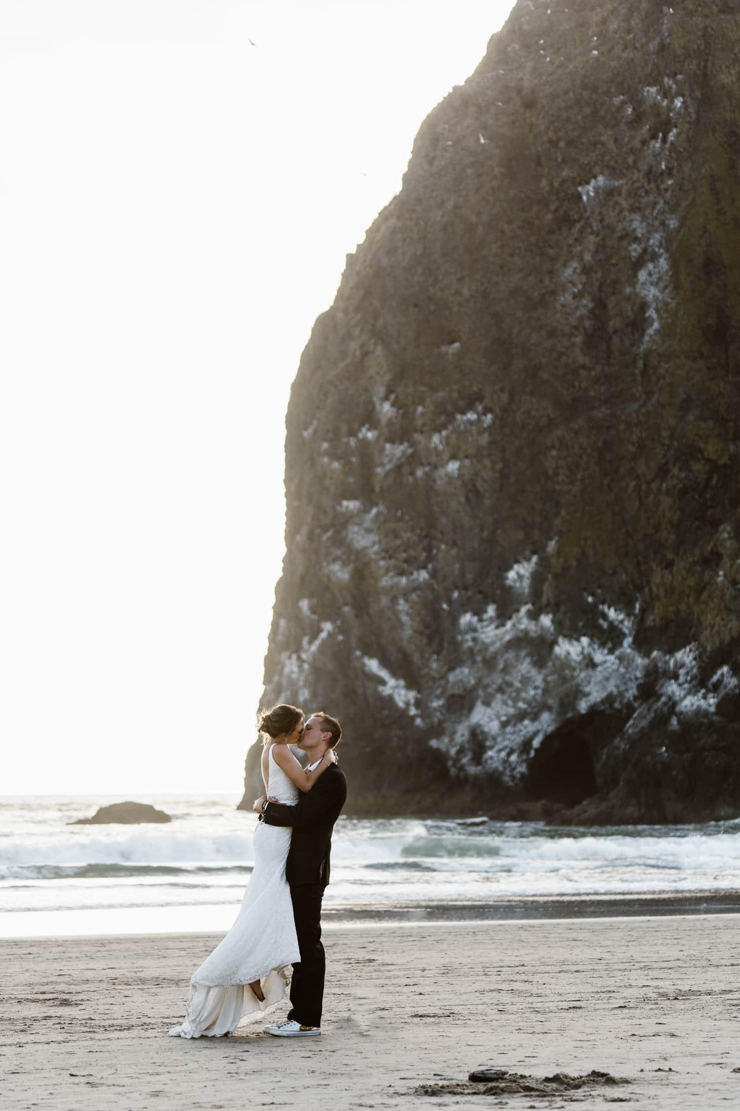 Cannon Beach Oregon Elopement Kissing