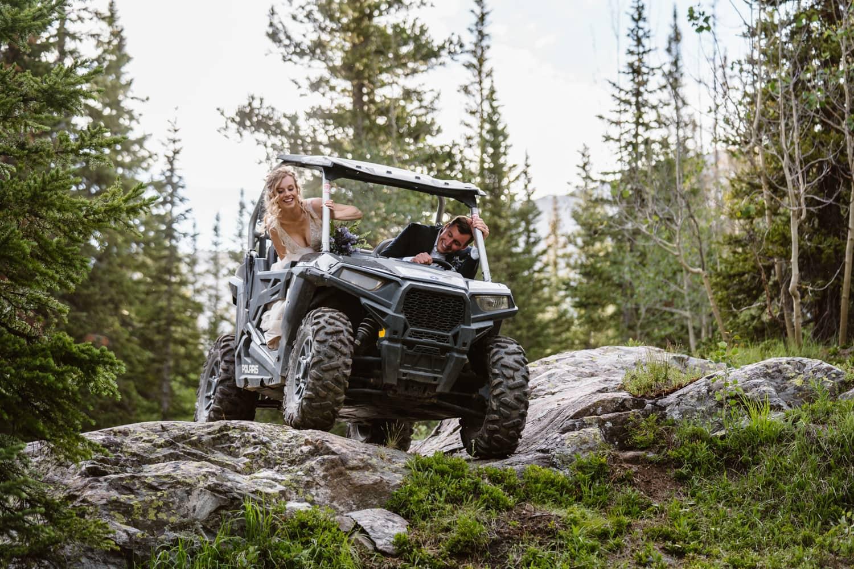 Bride and Groom Off Roading Colorado Ceremony Ideas