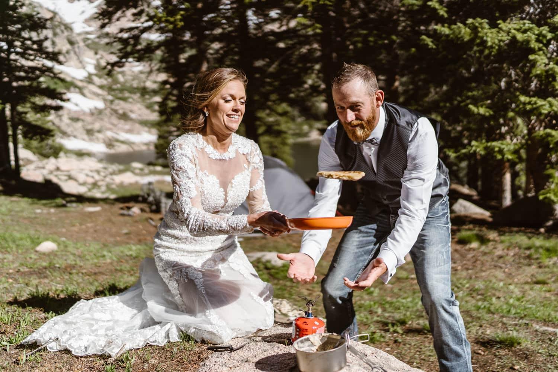 Bride and Groom Making Pancakes Colorado Ceremony