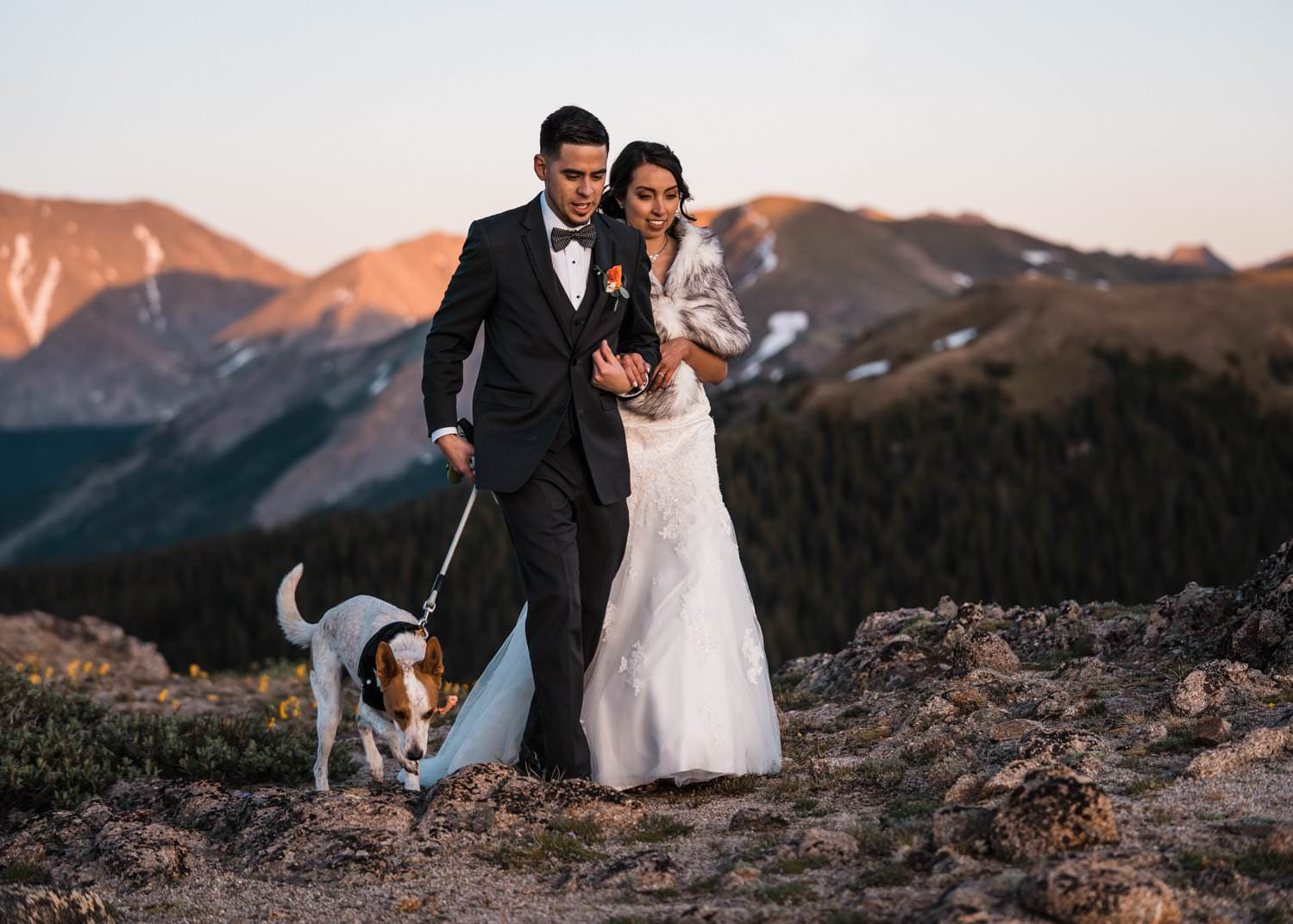 Bride and Groom Hiking at Independence Pass Elopement