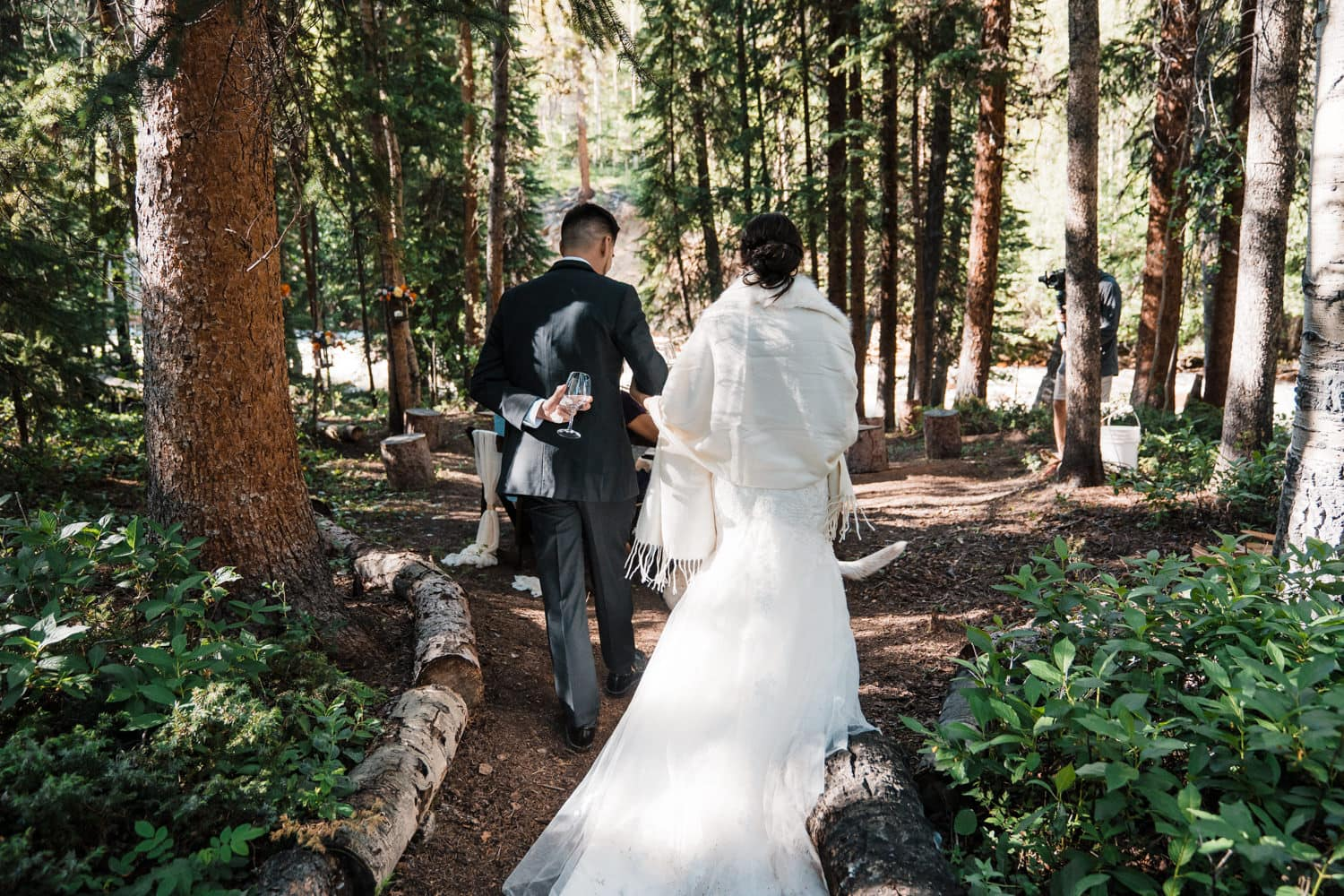 Bride and Groom at Dinner Independence Pass Elopement