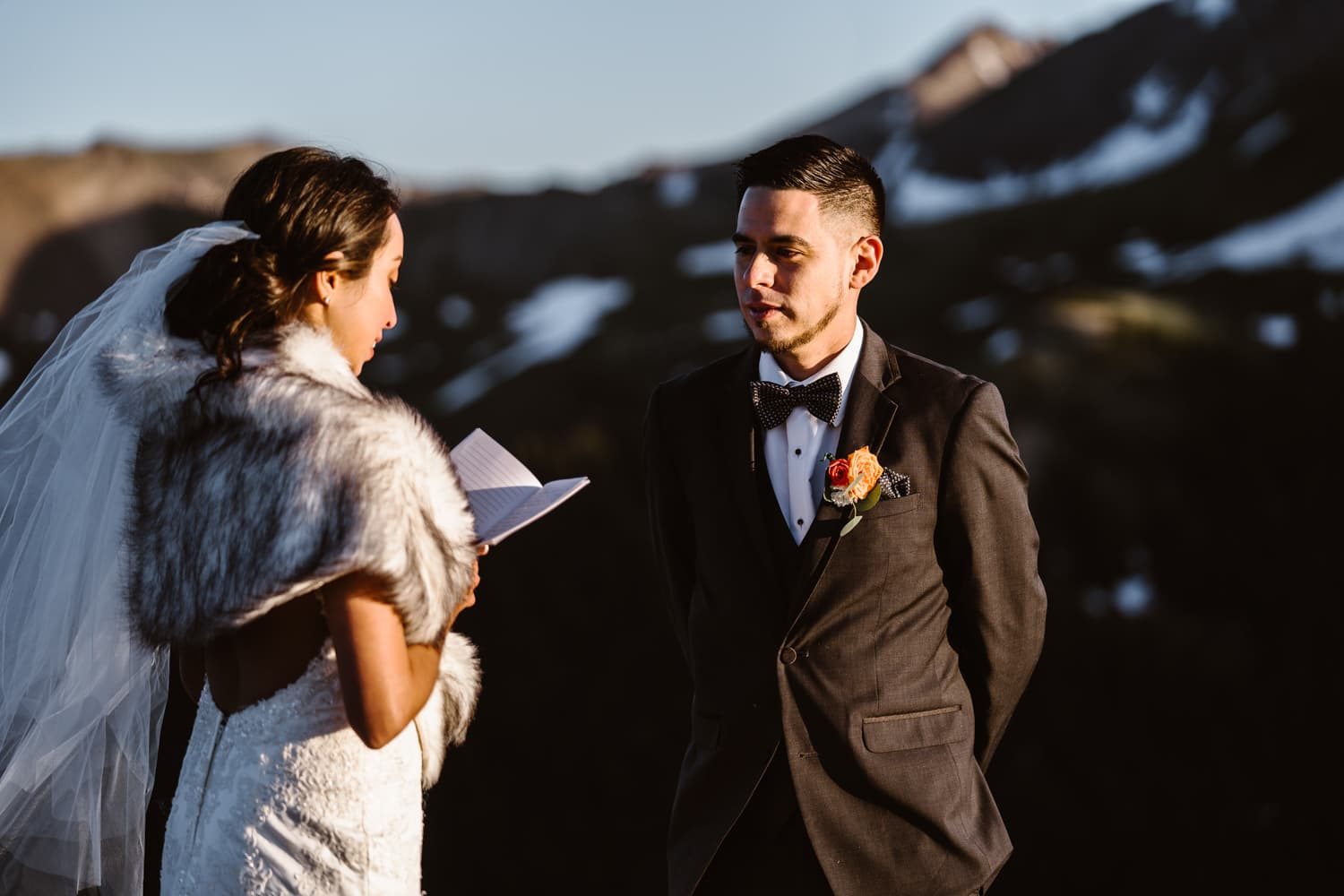 Bride and Groom Vow Ceremony at Independence Pass Elopement