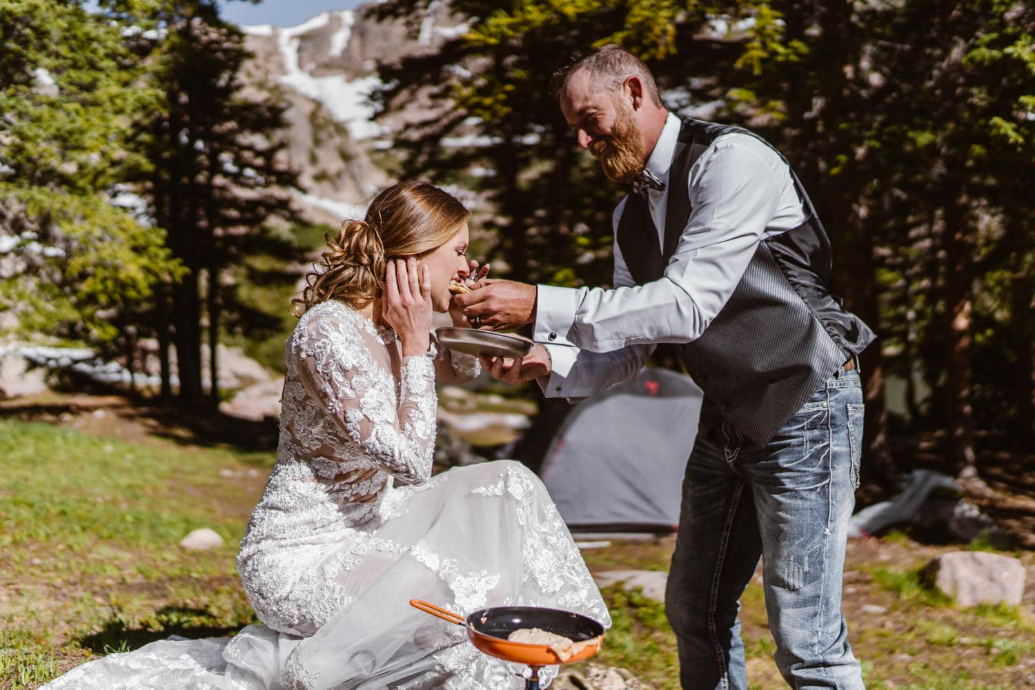 Bride and Groom With Pancakes Backpacking Wedding Elopement