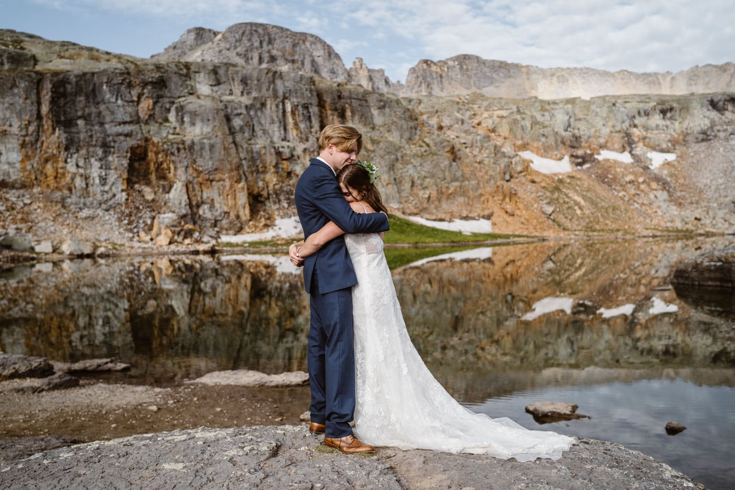 Bride and Groom Alpine Lake Colorado Elopement Packages