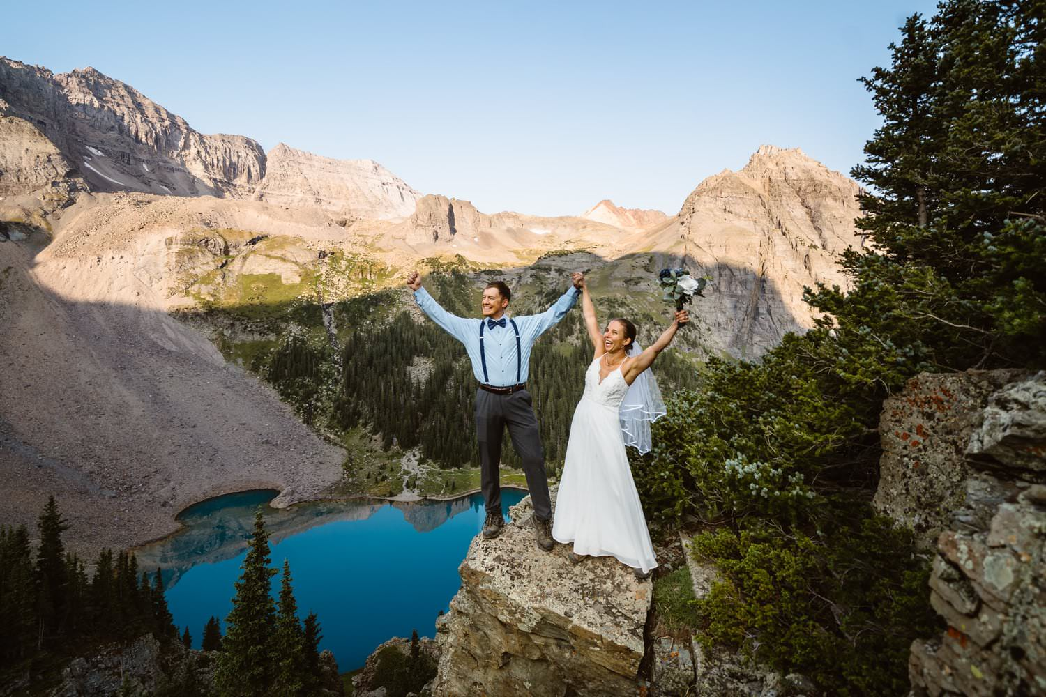 Bride and Groom Celebrating Colorado Elopement Packages