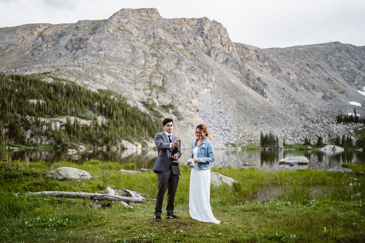 Bride and Groom Spray Champagne Elopement Ceremony Ideas