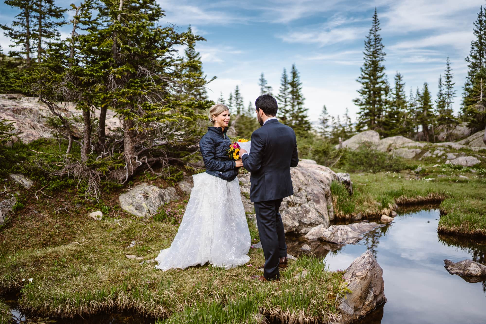Bride and Groom Vow Ceremony Vail Colorado Elopement