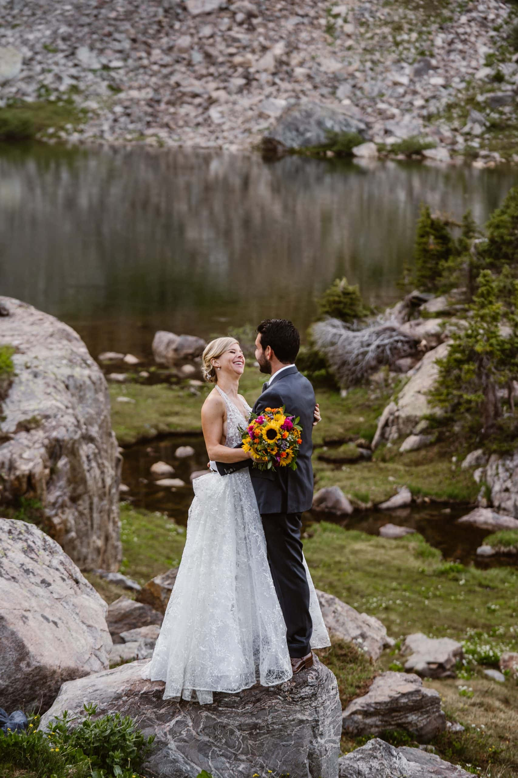 Bride and Groom Smiling Vail Colorado Elopement