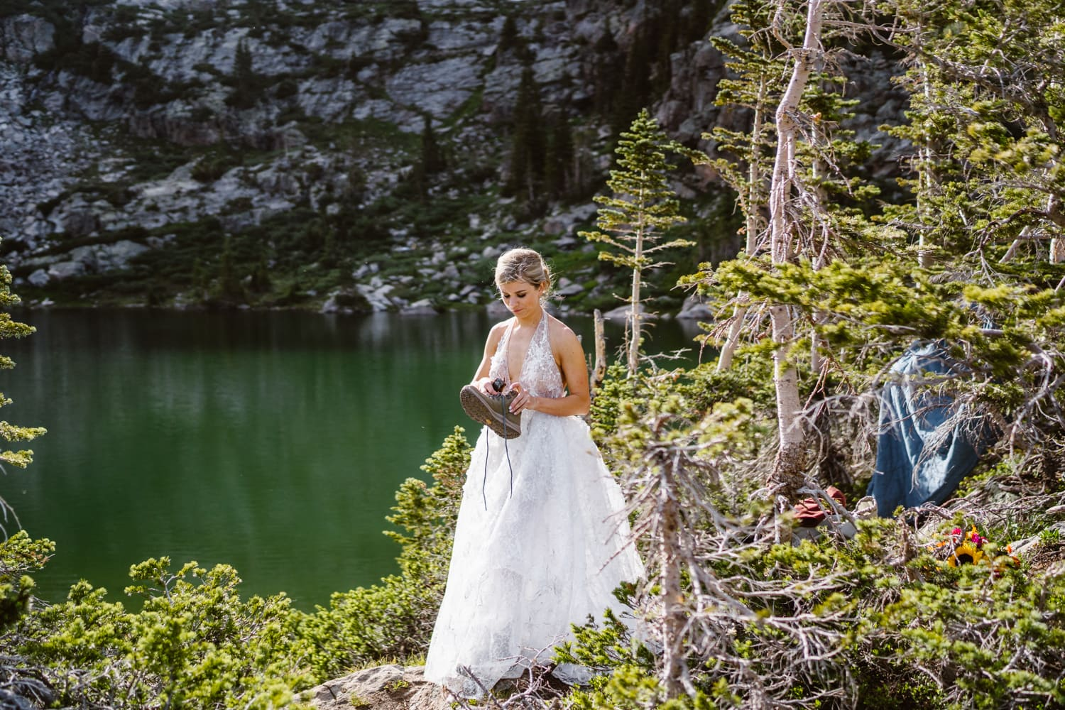 Bride First Look Vail Colorado Elopement