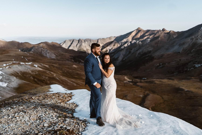 Bride and Groom Hugging Colorado Elopement Packages